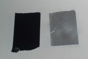 Tape to increase opacity of Bristol board (Gorilla tape on left, aluminum duct tape on right).