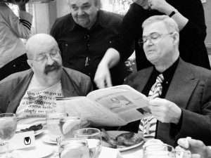 David G. Hartwell with Gene Wolfe at the 2002 World Fantasy Convention in Minneapolsi